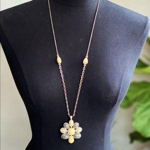 LOFT Long Gray & Ivory Pendant Brass Necklace